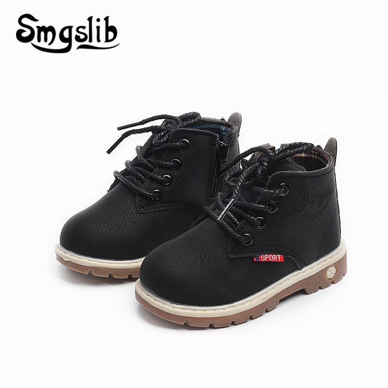 Kids Boots Boys Girls Rubber Shoes Children Boot 2018 Autumn Winter Pu Leather Warm Martin Sneaker For