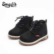 цена на Kids Boots Boys Girls Rubber Shoes Children Boot 2018 Autumn Winter Pu Leather Warm Martin Boots Sneaker For Girls