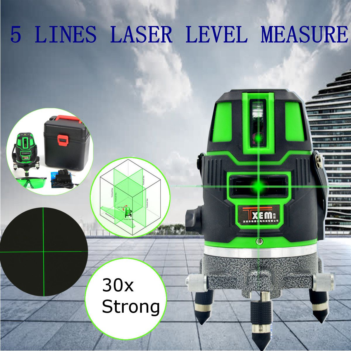 Green Beam Laser Level 5 Line Cross  30 Times Green Self  Leveling 360 Degree Rotary Outdoor Measuring Lazer Level Tools quality mtian level laser 5 lines 6 points instrument levels 360 self rotary 635nm corss line lazer level tools fast delivery