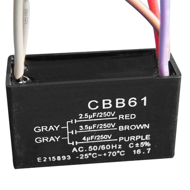 1 stück Schwarz CBB61 Kondensator 2,5 uF + 3,5 uF + 4 uF Kapazität 5 ...