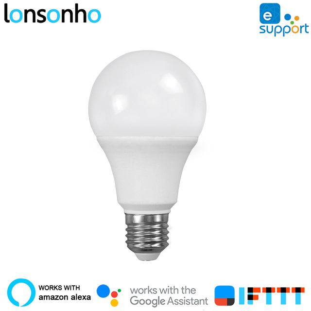 Lonsonho inteligentny WiFi żarówka E27 lampa LED żarówki 5 W 450lm 2700 k 6500 k ściemniania współpracuje z Alexa eWeLink App