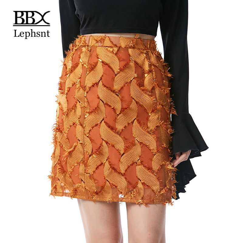 BBX Lephsnt Short Skirt Mini Tassel Women Skirt 2018 Summer Casual A-line Caramel Trends Design Elegant Skirts jupe femmeB83013