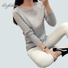 2016 Autumn Winter Knitted Women Sweaters And Pullovers Female Long Sleeve Jumper White Black Gray Pull Femme