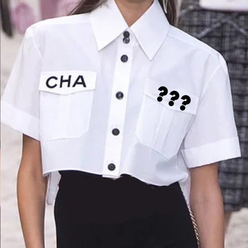Women Fashion Statement Collar Pocket Brand   Shirt     Blouse     Shirt   Letter Print Loose Casual Blosues Tops Ladies Blusa 2019 NEW