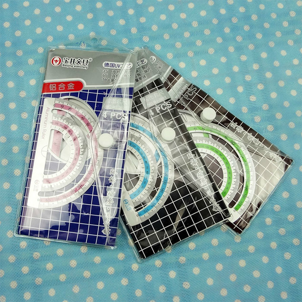 4Pcs=1Pack Students Drawing School Supplies Set Square Triangle Ruler Aluminum Alloy Protractor/four Sets