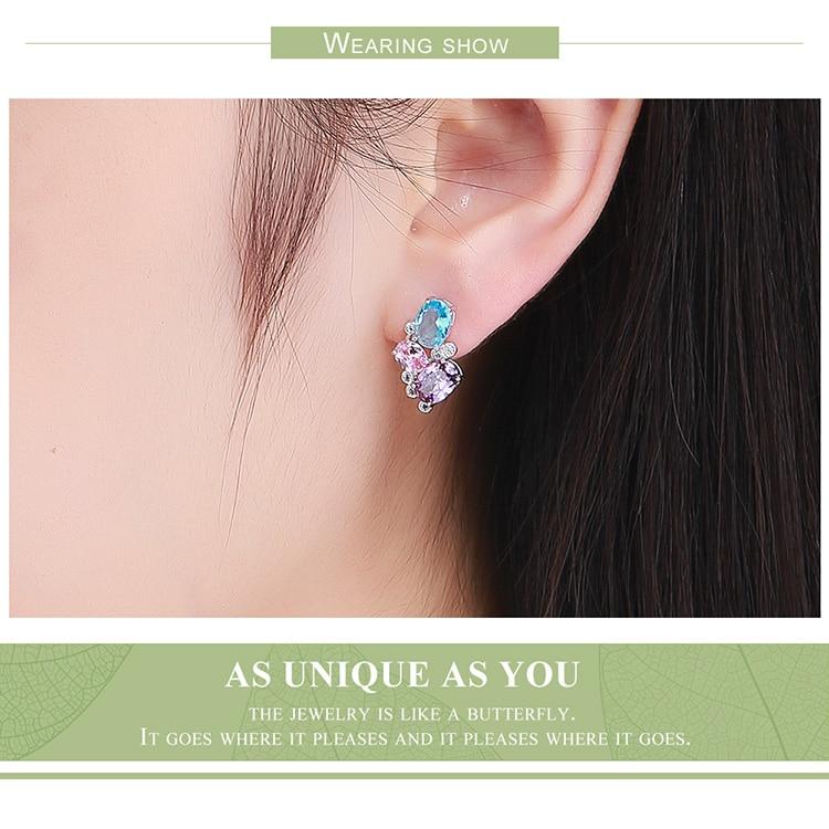 HTB1sFWnN4TpK1RjSZFMq6zG VXan BAMOER Classic 100% 925 Sterling Silver Colorful Zircon Geometric Earrings Simple Stud Earrings for Women Silver Jewelry SCE579