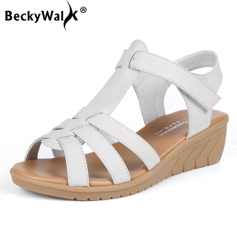 New Genuine Leather Women Sandals Women Summer Shoes Peep Toe Gladiator Sandals Wedges Oxford Shoes Woman Black White WSH3371 Pakistan