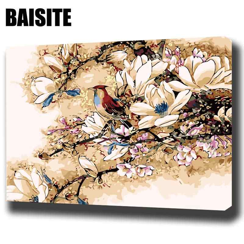 BAISITE DIY Framed Oil Painting By Numbers Flowers Pictures Canvas Painting For Living Room Wall Art Home Decor E737