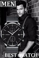 KASHIDUN. Men's Large Face Military Wrist Watches Waterproof Luxury Casual Luminous Simple Army Watch Calendar Date Steel Band