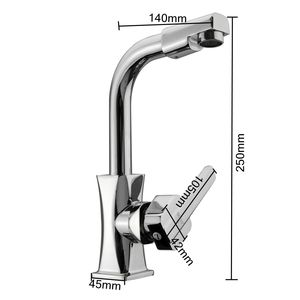 Image 4 - Xueqin 360 Rotation Spout Modern Kitchen Mixer Tap Brass Polished Single Handle Wash Basin Faucet For Bathroom Deck Mounted