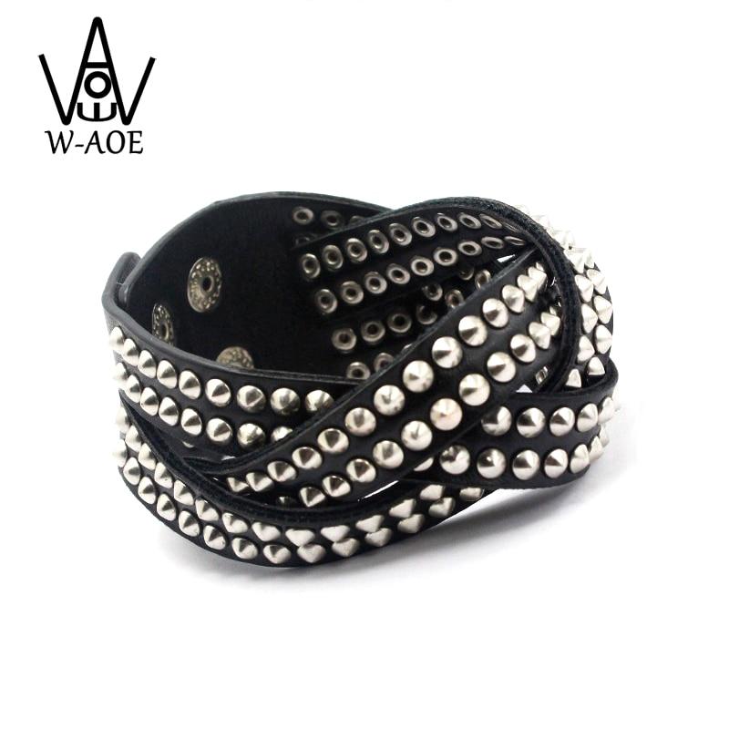 Μοναδικό μαύρο PU Rivet Wide Δερμάτινα Wrap βραχιόλι κοσμήματα μόδας Rock Punk πολλαπλών στρώσεων βραχιόλια για γυναίκες Γυναίκες άνδρες Bangles
