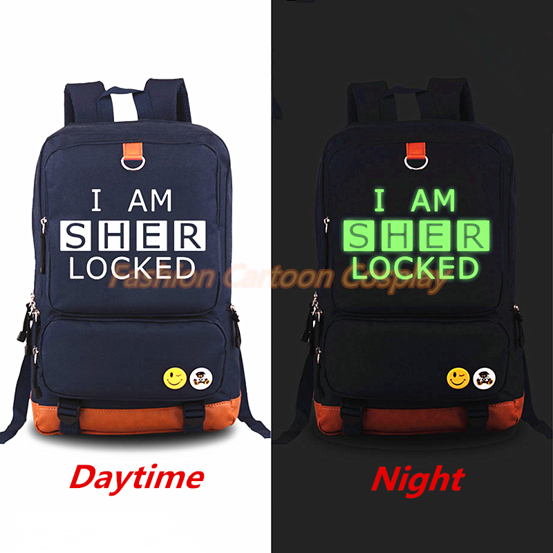 Hot TV Sherlock backpack Luminous Backpacks Mochila Casual Rucksack Teenagers Men Women's Student School Bags Travel Laptop bag dispalang fashion men s backpacks casual travel shoulder bag deer mochila women student school bag for teenagers laptop backpack