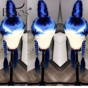 Image 4 - Beeos Farbige Blau 150% 13*6 Spitze Front Menschliches Haar Perücken Pre Gezupft Haaransatz Brasilianische Spitze Perücke mit Baby haar Remy