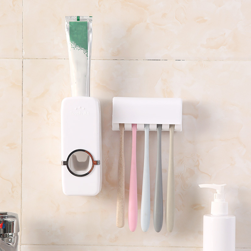 Hot Sale Automatic Toothpaste Dispenser Toothbrush Holder Brush Holder Bathroom Accessories Set Toothpaste Squeezers Tooth(China)
