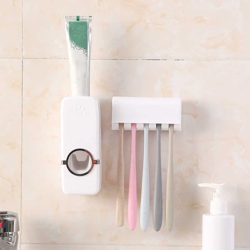 Hot Sale Automatic Toothpaste Dispenser Toothbrush Holder Brush Holder Bathroom Accessories Set Toothpaste Squeezers Tooth