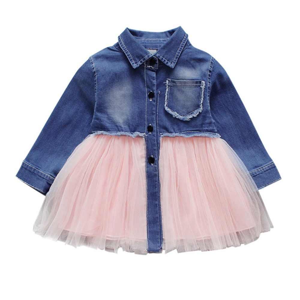 CHAMSGEND niño bebé niñas de manga larga Denim tutú tul princesa vestidos casuales trajes 18DEC14