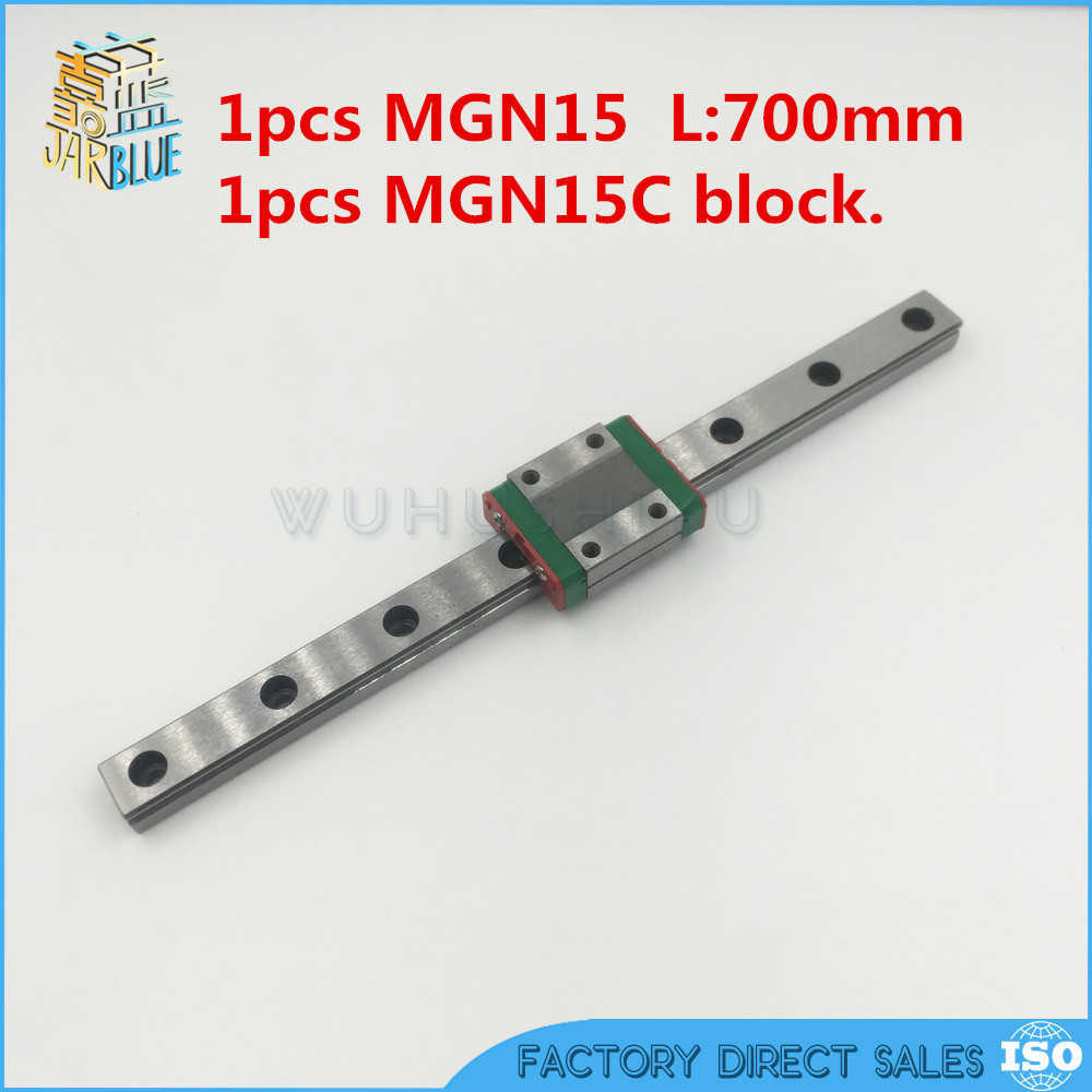 free shipping miniature 15mm width china linear guide block MGN15C + linear rail MGN15-L 700mm rail for cnc bearing steel axk mr12 miniature linear guide mgn12 long 400mm with a mgn12h length block for cnc parts free shipping