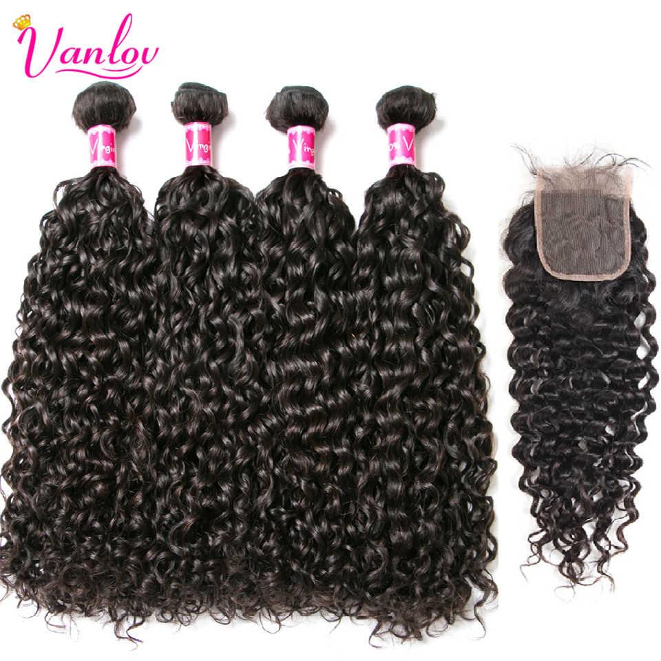Vanlov волна воды 4 пучка с закрытием 100% человеческие волосы Малайзия remy наращивание волос натуральный реактивный черный Tissage chevex Humain