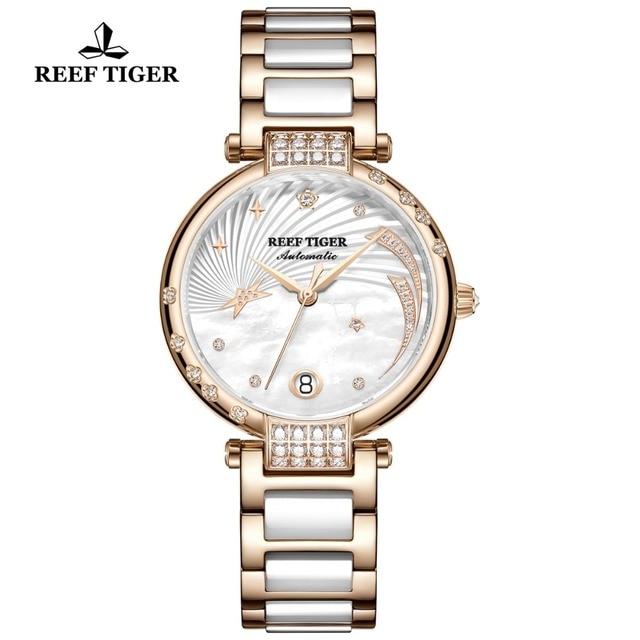 Reef Tiger/RT Top Brand Luxury Women Watch Ceramic Rose Gold Bracelet Diamond Automatic Mechanical Shell Watches Clock RGA1592 1