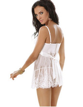 Fcare 2016 plus size XL, XXL, XXXL, XXXXL,5XL,6XL dress+g string white erotic sexy lingerie lace hot