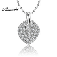AINUOSHI Luxury 925 Sterling Silver Pendant Necklace for Women Cute Fruit Strawberry Long Chain Necklace Wedding Silver Jewelry