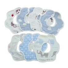 Puro Algodão Do Bebê Babadores Infantil bebê Recém-nascido Arroto Panos Bebês Babadores 6 camadas 10 peças