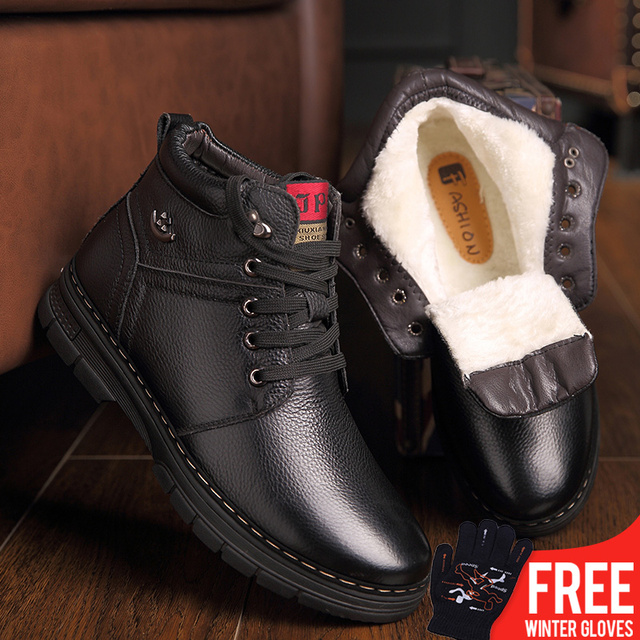 2018 New Winter Shoes Men's Boots Geniune Leather Wool Inside Hot Warm Snow Shoes Man Leather Ankle Boots Non-slip plush boots