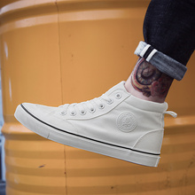 Mens Shoes 2018 Spring New Canvas Black High-top Single Breathable In The Help of Korean Version Trend5