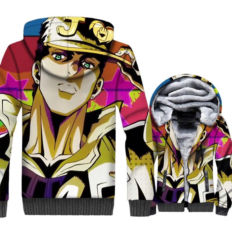 JoJo's Bizarre Adventure Jacket Game Hoodie Men Crossfit Sweatshirt Winter Thick Fleece Warm 3D Print Coat Comics Streetwear 5XL