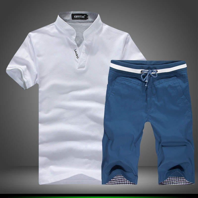 2 PCS! 2018 summer men's fashion high-grade v-neck Slimming t-shirts with short sleeves Male youth large size T-shirt suit/S-5XL