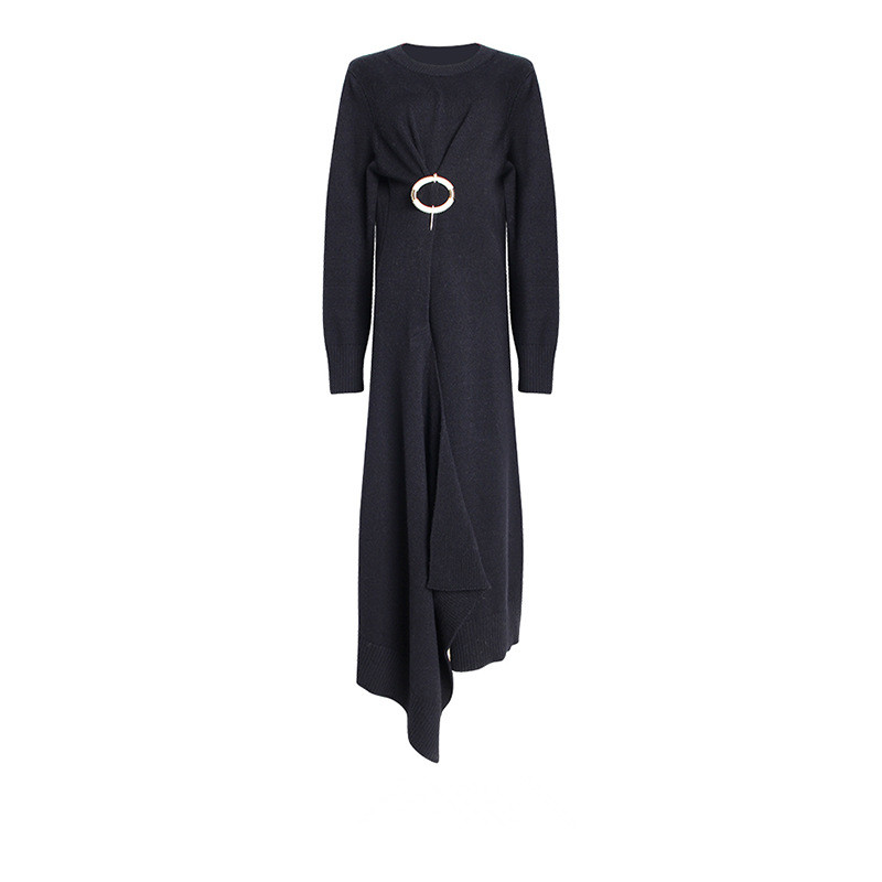 Pull Longues Irrégulier Hem Split De Tricot Printemps Noir Robe Haute Robes Femmes À kaki Taille 2019 Manches wqgABRn