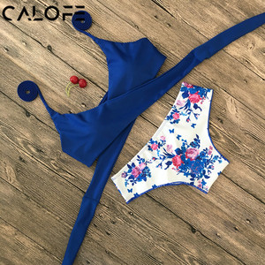 Halter Swimwear Bikini 2020 Thong Bikini Blue Set Women Bikini Brazilian Swimwear female Biquinis Push Up Swimsuit(China)
