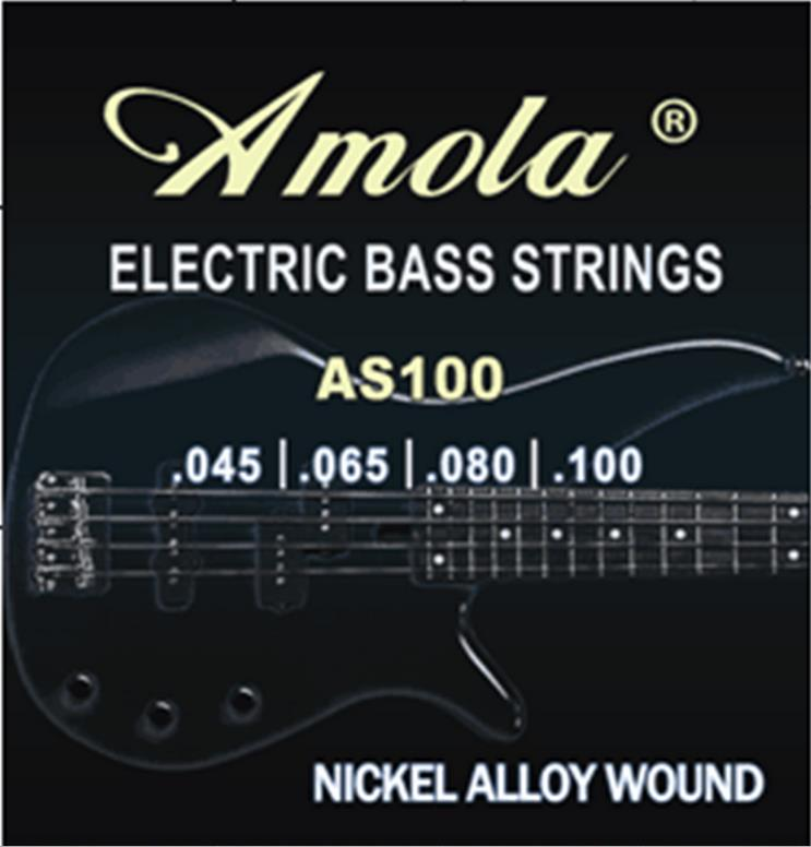 Amola AS100 Electric Bass Strings 4 Steel Stings 045 064 080 100 Musical Instruments rotosound rs66lc bass strings stainless steel