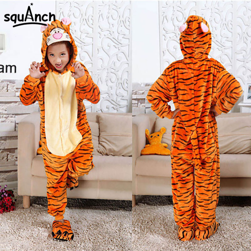 Kid Onesie Anime Kigurumi Cute Funny Whole Pajama Party Girl Boy Cartoon Tigger Stitch Flannel Overall Wholesale