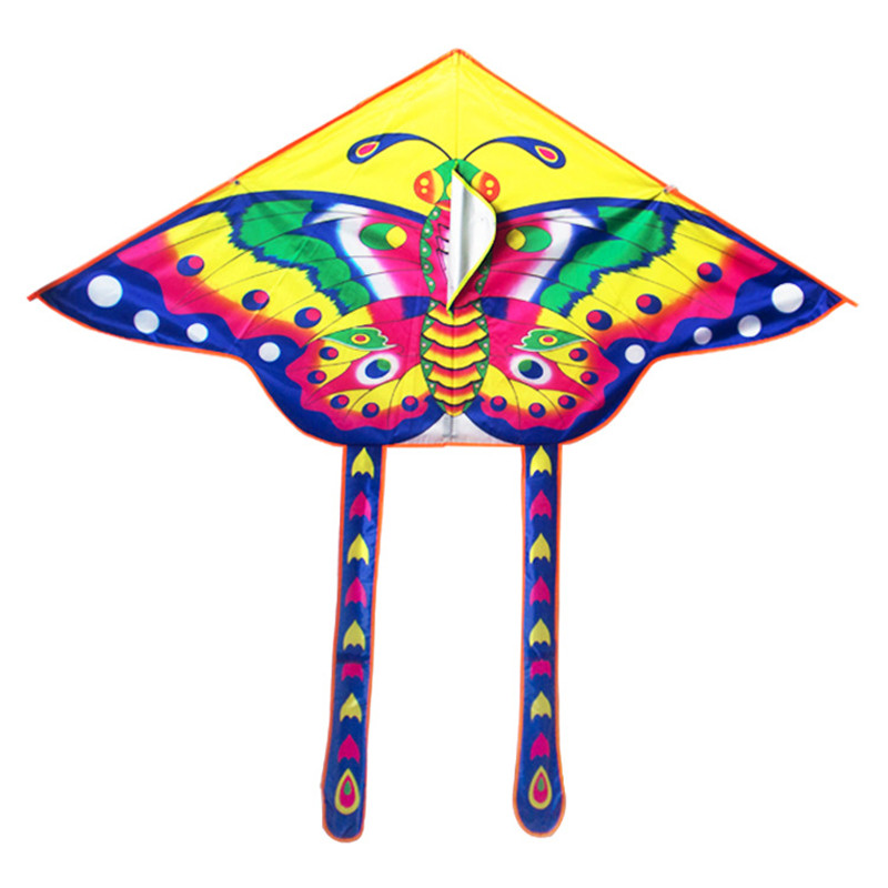9055cm-Nylon-Rainbow-Butterfly-Kite-Outdoor-Foldable-Childrens-Kite-Stunt-Kite-Surf-with-60M-Control-Bar-and-Line-Random-Color-2