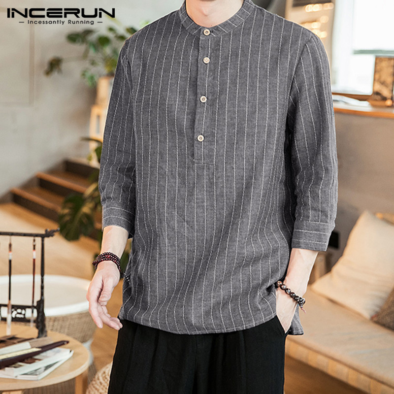 INCERUN New Striped Casual Shirt Men 3/4 Sleeve Stand Collar Vintage Button Tops Harajuku Men Brand Shirt Camisa Masculina 2020
