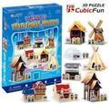 CubicFun 3D головоломки модель бумаги традиционный дом мини подарочные C100H инструменты легко собрать образовательную creat украшение игрушки