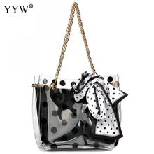 Large Clear Tote Bag Pvc Top Handle Waterprof Pvc Beach Transparent Shoulder Crossbody Bag Pouch 2 Pieces Set With Dot Ribbons