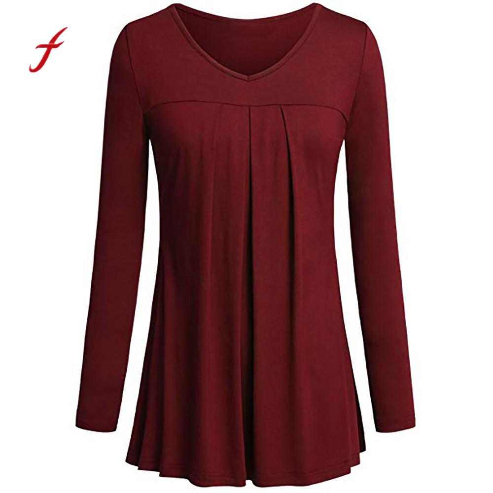 efb2628e1d7a3 women clothing Long Sleeve V-Neck Solid Pleated Front Tunic Tops breathable  plus size feminino Blouses roupas Femininas