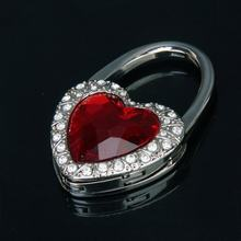 DSHA nouveau Support de Sac à Crochet chaud une Main Pliant en Forme de Coeur Rouge avec décoration de Strass