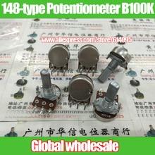 10 шт. 148-тип одного потенциометра B100K/длина ручки 20MMF/белый корпус с шаг 41C
