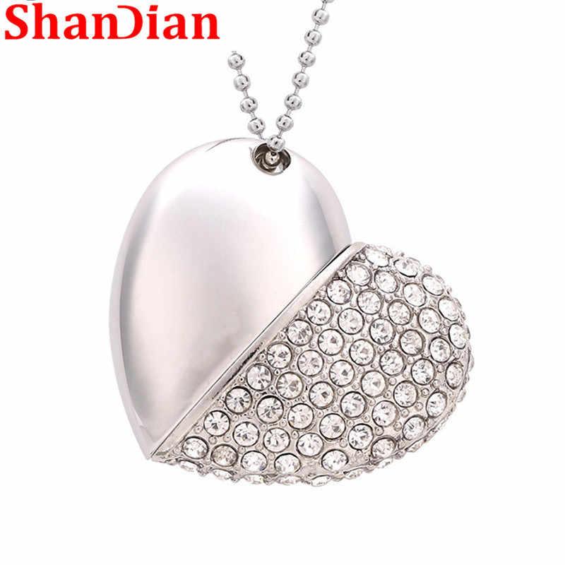 SHANDIAN акции мода металлическое сердце Кристальный USB флэш-накопитель драгоценный камень ручка привод красота подарок USB 2,0 мемори фа