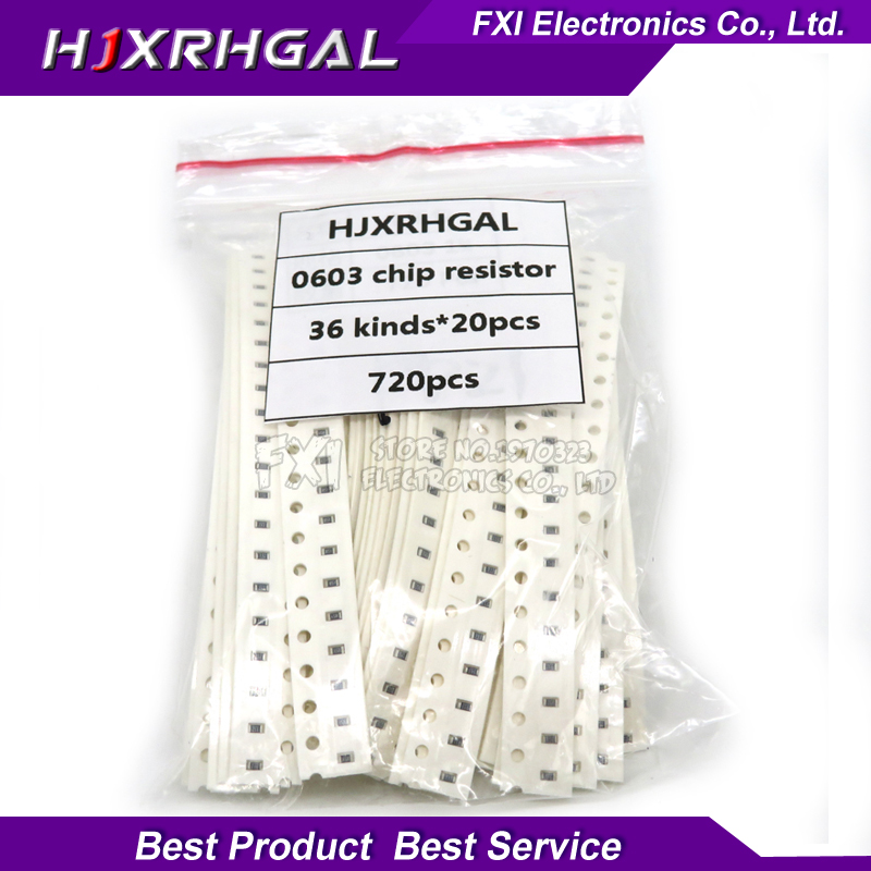 36valuesX20pcs=720pcs 0603 1ohm-<font><b>10Mohm</b></font> SMD <font><b>Resistor</b></font> Kit Assorted Kit 5% component diy samples kit new and original image