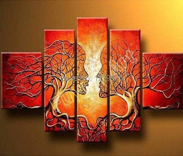 100% håndlavet rødt træ par malerier abstrakt landskab lærred - Indretning af hjemmet