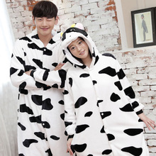 2019 pajamas fleece women flannel long-sleeved thick animal cows one-piece couple pijama autumn and winter coral