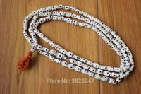 ML175 Blanco Hueso Del Cráneo Budismo Rosario 108 Granos de Rezo Tibetana Nepal Hecho A Mano 1.2 cm * 0.9 cm Collar de Cuentas de Hueso Mala