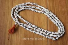 ML175 Tibetan White Bone Skull Buddhism Rosary 108 Prayer Beads Handmade Nepal 1.2cm*0.9cm Bone Beaded Necklace Mala