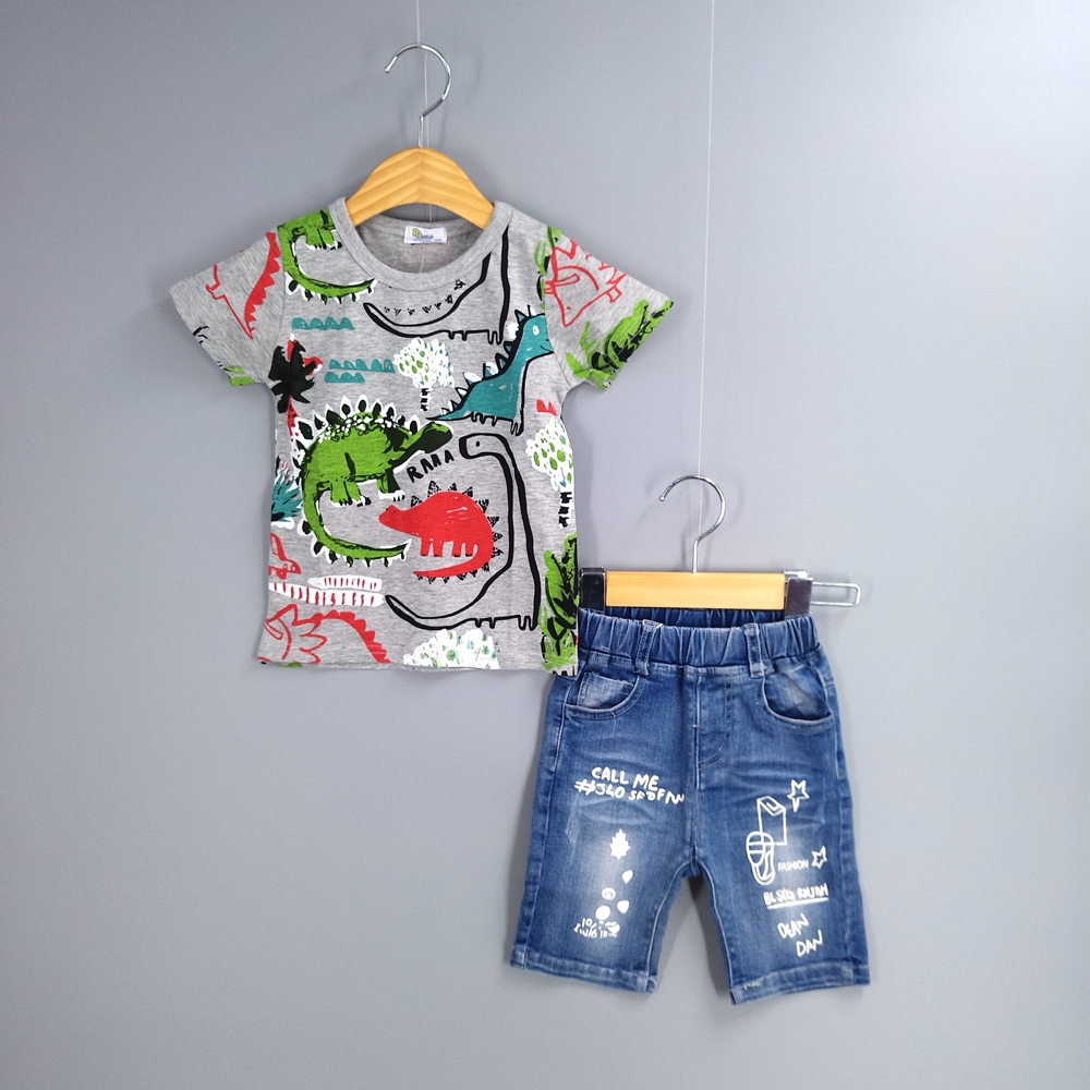 1-7 T Baby Boys Clothing Sets Summer Dinosaur Short Sleeve T Shirt +Shorts  Jeans Kids Clothes Children 2 Pieces Sets Boys Suit