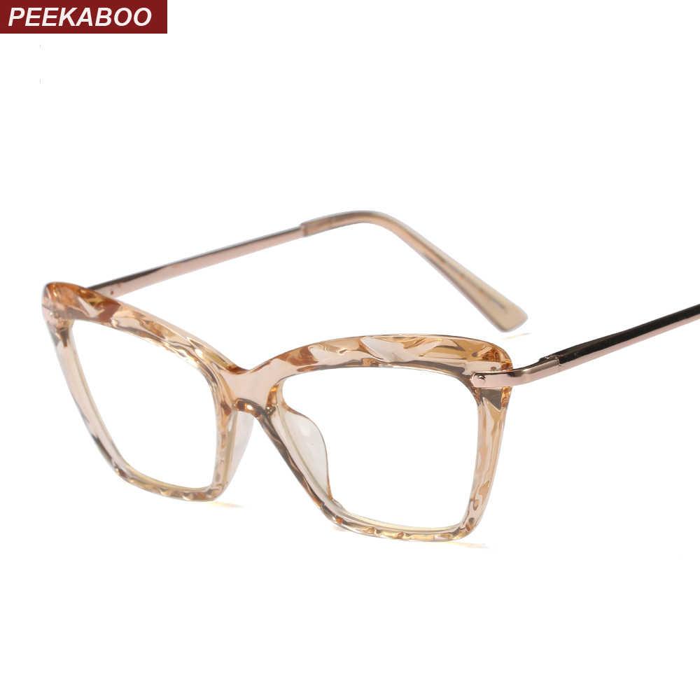 bbf08bc9814f Peekaboo cat eye transparent glasses frame for women designer pink brown  black 2018 fashion eyeglasses frames