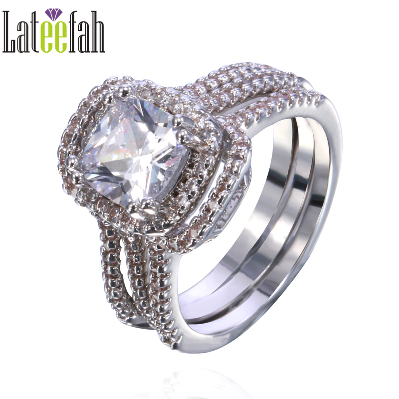lateefah three pieces women wedding rings set thin band large stone white gold color diamonique cubic - Large Wedding Rings